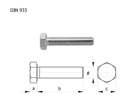 Bolt with full thread A4 DIN933 M6x40  packaging 1/10, sale, bolt_M6kh40_A4_933_upak,  art-00132405( 3) | F25