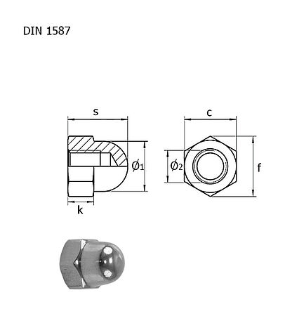 Cap nut A4 DIN1587 M6 packaging 1/10, sale, gajka_M6_A4_1587_upak,  art-00132489( 3) | F25