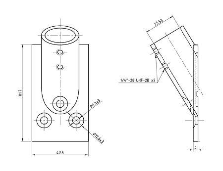 """Handrail racks base 1 """"(25.4 mm), 30 deg, rectangular, sale, 66178_Kof,  art-00110736( 2)   F25"""