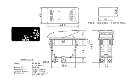 Contura Switch ON-OFF 16A/12V, 3P, LED, sale, AES111853,  art-00117581( 3) | F25