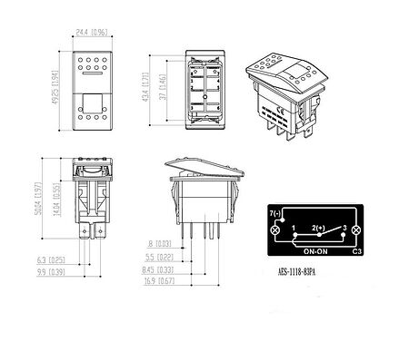 Contura Switch ON-ON 12V/20A, 4P, LED, sale, AES111883PA,  art-00117645( 3) | F25