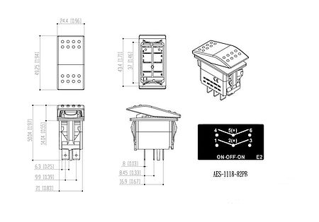 three-position switch ON-OFF-ON 12V/20A,6P, sale, AES111882PB,  art-00117640( 3) | F25