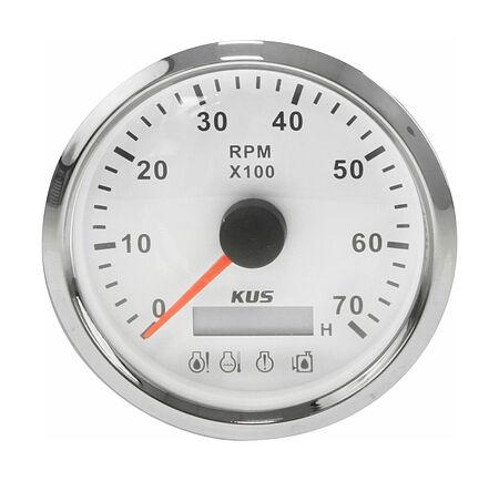 Tachometer 0-7000 RPM divisor 1-10, White/Chrome, Monitor Gauge, price, KY07123,  art-00125514( 1) | F25