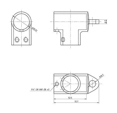 "Handrail tee 1 ""(25.4 mm), 90 deg with loop, sale, 66119_Kof,  art-00006694( 2) | F25"