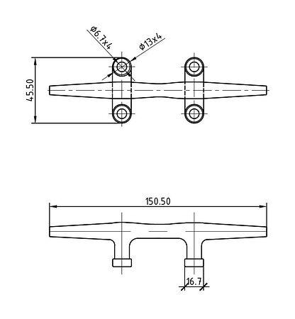 155 mm 4 Hole Cleat, Stainless Steel, sale, 66009_Kof,  art-00041900( 2)   F25