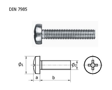 screw round head screw DIN7985 A4 cross recess-M8h40 packing 1/10, price, vint_M8kh40_A4_7985_upak,  art-00132898( 1) | F25