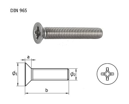 screw with countersunk head and cross recess A4 DIN965, M10x40, packing 1/10, sale, vint_M10kh40_A4_965_upak,  art-00132455( 3) | F25