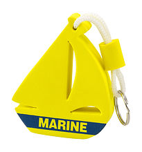 Yellow Boat boating floating key chain marine keychain. Keychain-float a sailboat