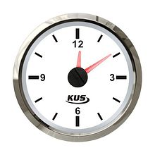 Analog Clock, White/Chrome