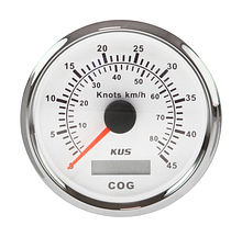 GPS Speedometer 45 knots, White/Chrome