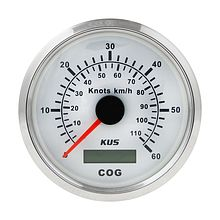GPS Speedometer 60 knots, White/Chrome