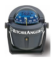 Compass Ritchie Angler, grey casing, blue dial, on arm