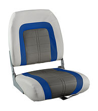 SPECIAL HIGH BACK Folding Seat, Soft, Grey/Blue Vinyl