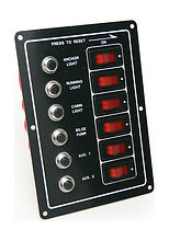 Switch Panel, 6 Switches, 12V, Vertical