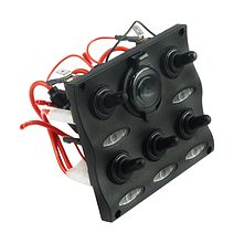 Switch Panel, 5 Swithes, 12V Outlet Power Socket, Led Indication