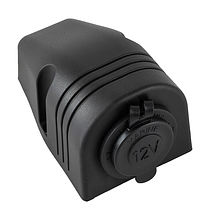 Power socket 12/24V, Dashboard Mount, Black