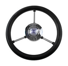 Steering wheel LIPARI black rim silver  spokes d. 280 mm