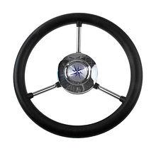 Steering wheel LIPARI black rim silver  spokes d. 280 mm