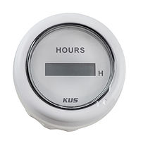 Digital Hour Meter Gauge, White/White