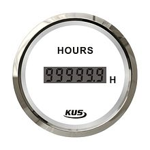 Digital Hour Meter Gauge, White/Chrome