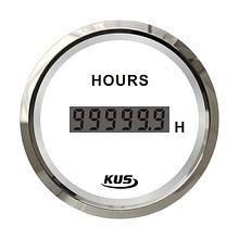 Digital Hour Meter Gauge, White/Chrome
