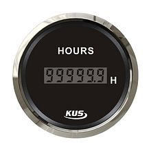 Digital Hour Meter Gauge, Black/Chrome