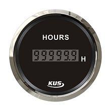 Digital Hour Meter Gauge, Black/Chrome