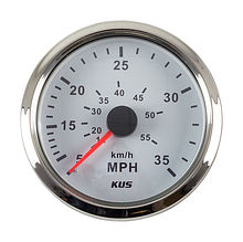 Speedometer 35 MPH, White/Chrome
