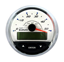 Speedometer for Suzuki, White/Chrome