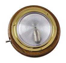 Cabin light, one lamp, 12V, 18W, D101 mm, teak