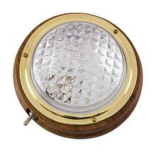 Cabin light, one lamp, 12V, 18 W, D127 mm, teak
