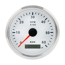Tachometer 6000 RPM divider 0.5-250, White/Chrome