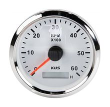 Tachometer 6000 RPM divider 1-10,  White/Chrome