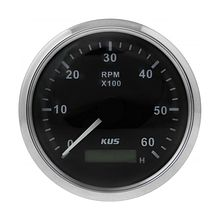 Tachometer 6000 RPM divider 1-10, Black/Chrome