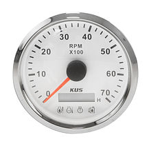 Tachometer 0-7000 RPM divisor 1-10, White/Chrome, Monitor Gauge