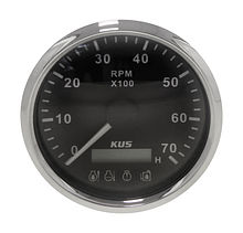 Tachometer 7000 RPM divisor 1-10, Black/Chrome, Monitor Gauge