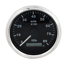 Tachometer 8000 RPM divider 1-10, Black/Chrome