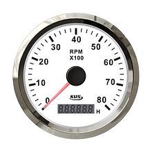 Tachometer 8000 RPM divider 0.5-250,  White/Chrome