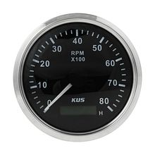 Tachometer 8000 RPM  divider 0.5-250, Black/Chrome