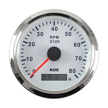 Tachometer 0-8000 RPM divider 1-10,  White/Chrome