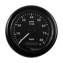 Tachometer 8000 RPM divider 1-10, Black/Black