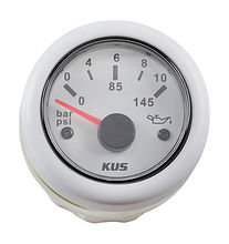 Oil Pressure Gauge, White/White