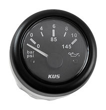Oil Pressure Gauge, Black/Black