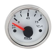 Oil Pressure Gauge, White/Chrome