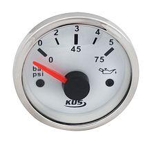 Oil Pressure Gauge, White/Chrome