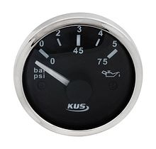 Oil Pressure Gauge, Black/Chrome