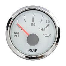 Oil pressure gauge, 12 volt, 0-10 bar, black dial, d. 52 mm, NMEA2000