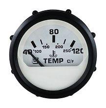 The engine temperature gauge, white