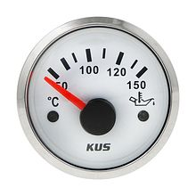 Oil Temperature Gauge, White/Chrome