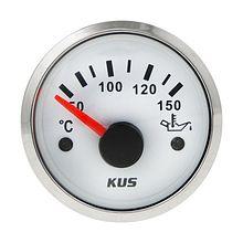 Oil Temperature Gauge, White/Chrome